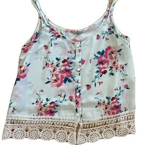 Charlotte Russe Mint Green Floral Tank Top